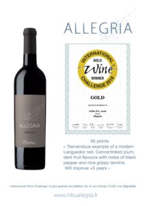 International Wine Challenge : gold for Allegria Tribu d 'A