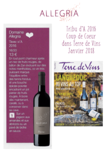 Good score for Allegria Tribu d'A in Terre de Vins magazin