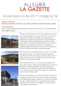 A look back on the Allegria 2017 vintage so far