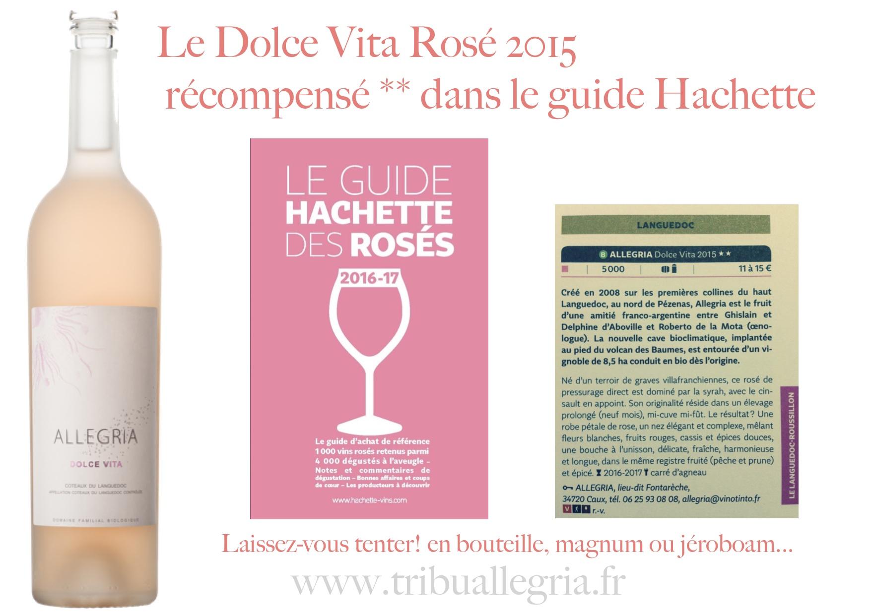 Allegria Dolce Vita rosé récompensé dans le guide Hachette