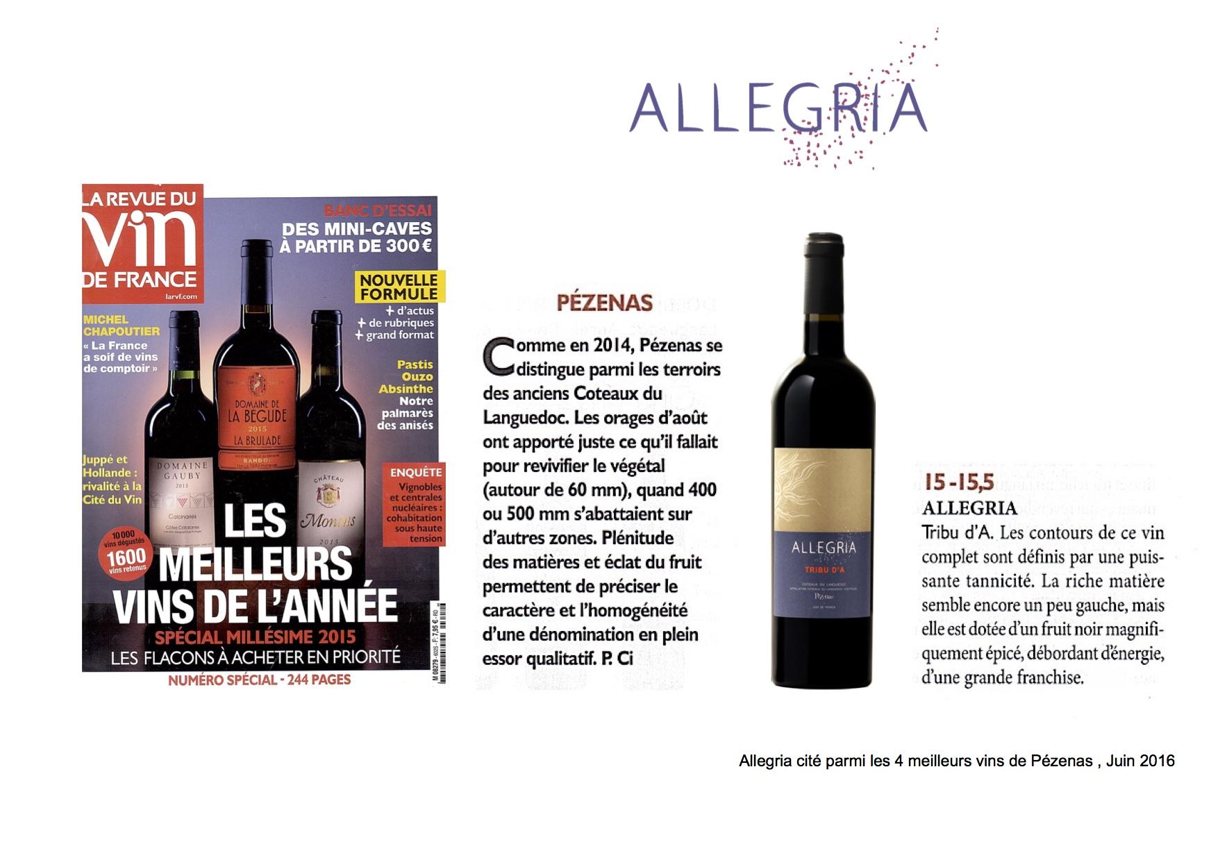 Tribu d'A rouge 2015 cité parmi les 4 meilleurs vins de Pezenas par la Revue du Vin de France