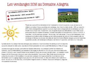 resume des vendanges 2016 au domaine Allegria