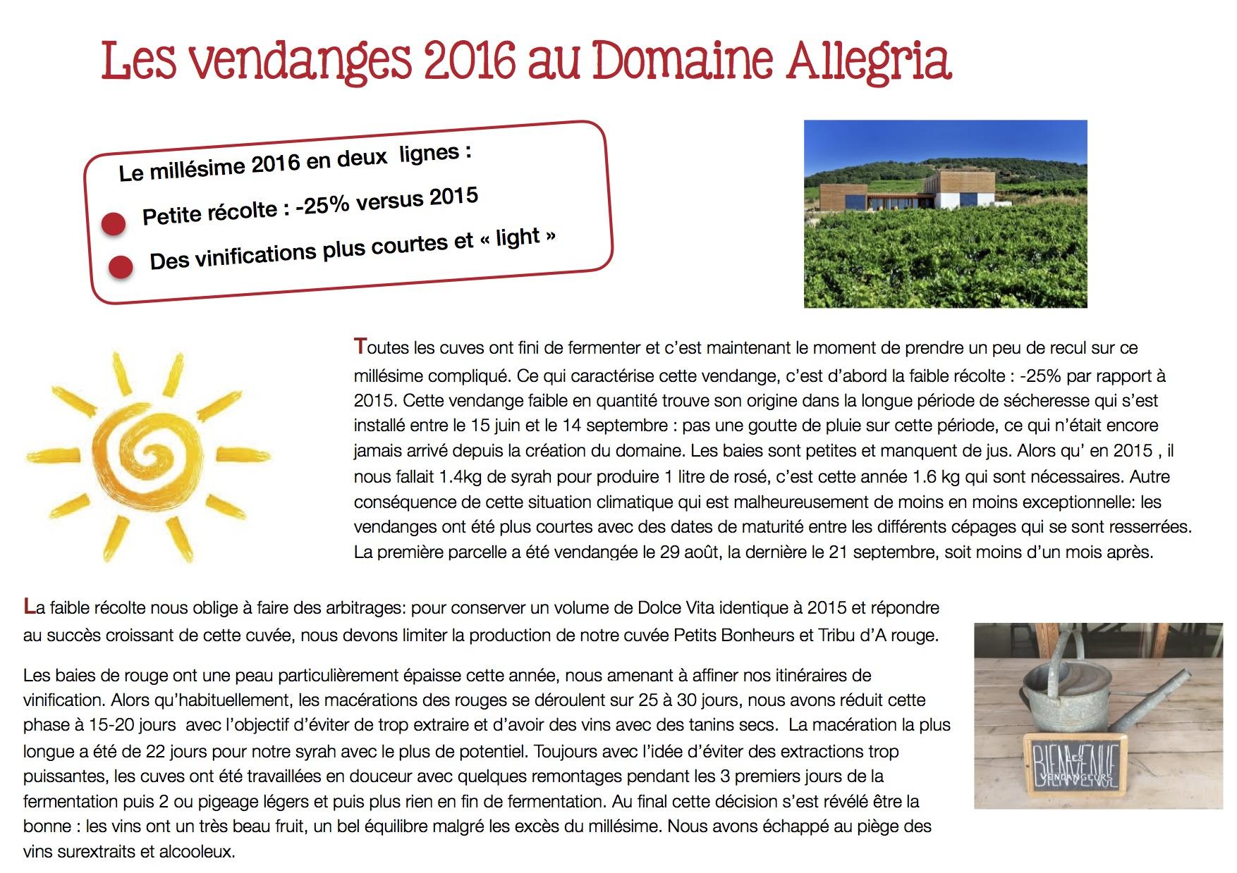 Résumé des vendanges 2016 au Domaine Allegria
