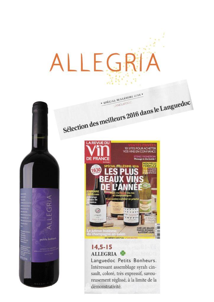 Allegria Petits Bonheurs 2016 sélectionné par la Revue du Vin de France parmi les meilleurs vins du Languedoc.