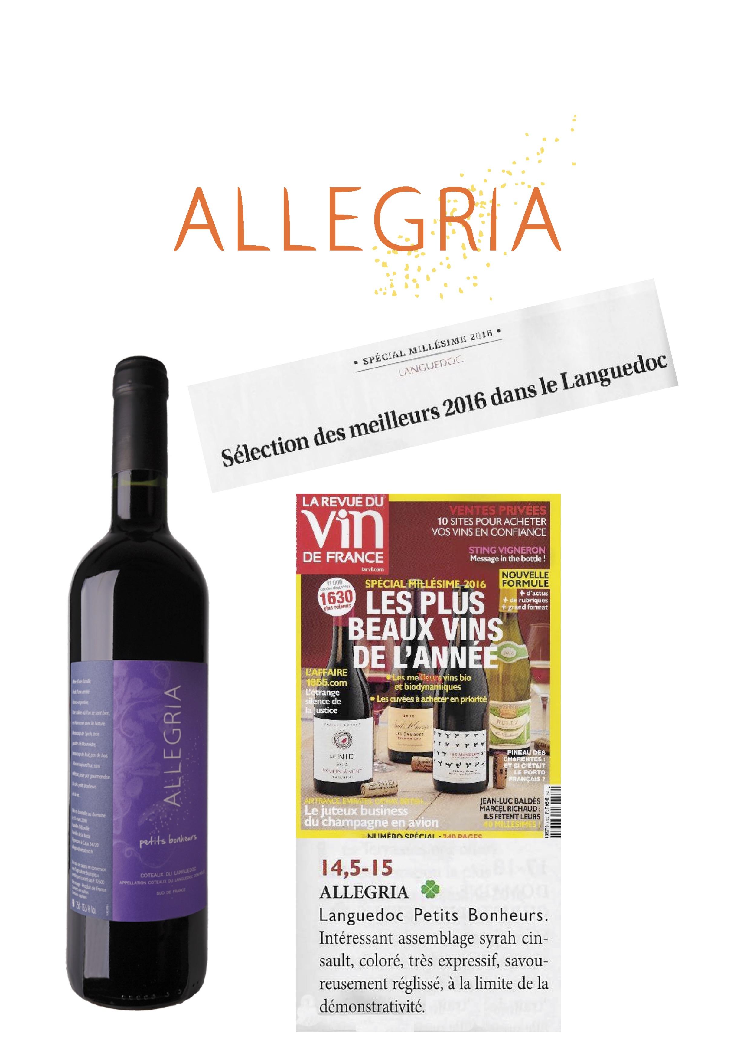 Allegria Petits Bonheurs 2016 sélectionné par la Revue du Vin deFrance