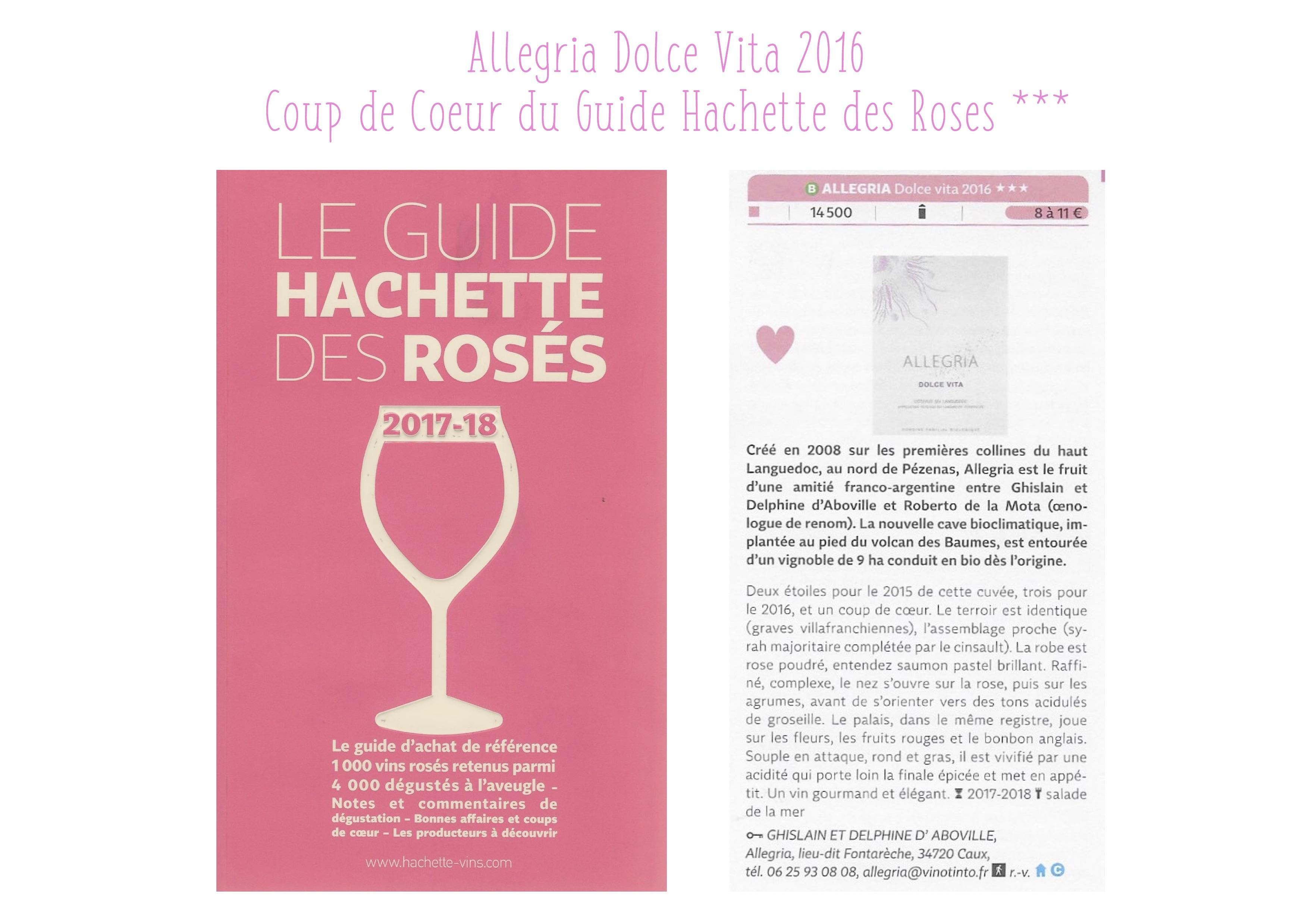 Allegria Dolce Vita 2016 Coup de Coeur du Guide Hachette des Vins rosés