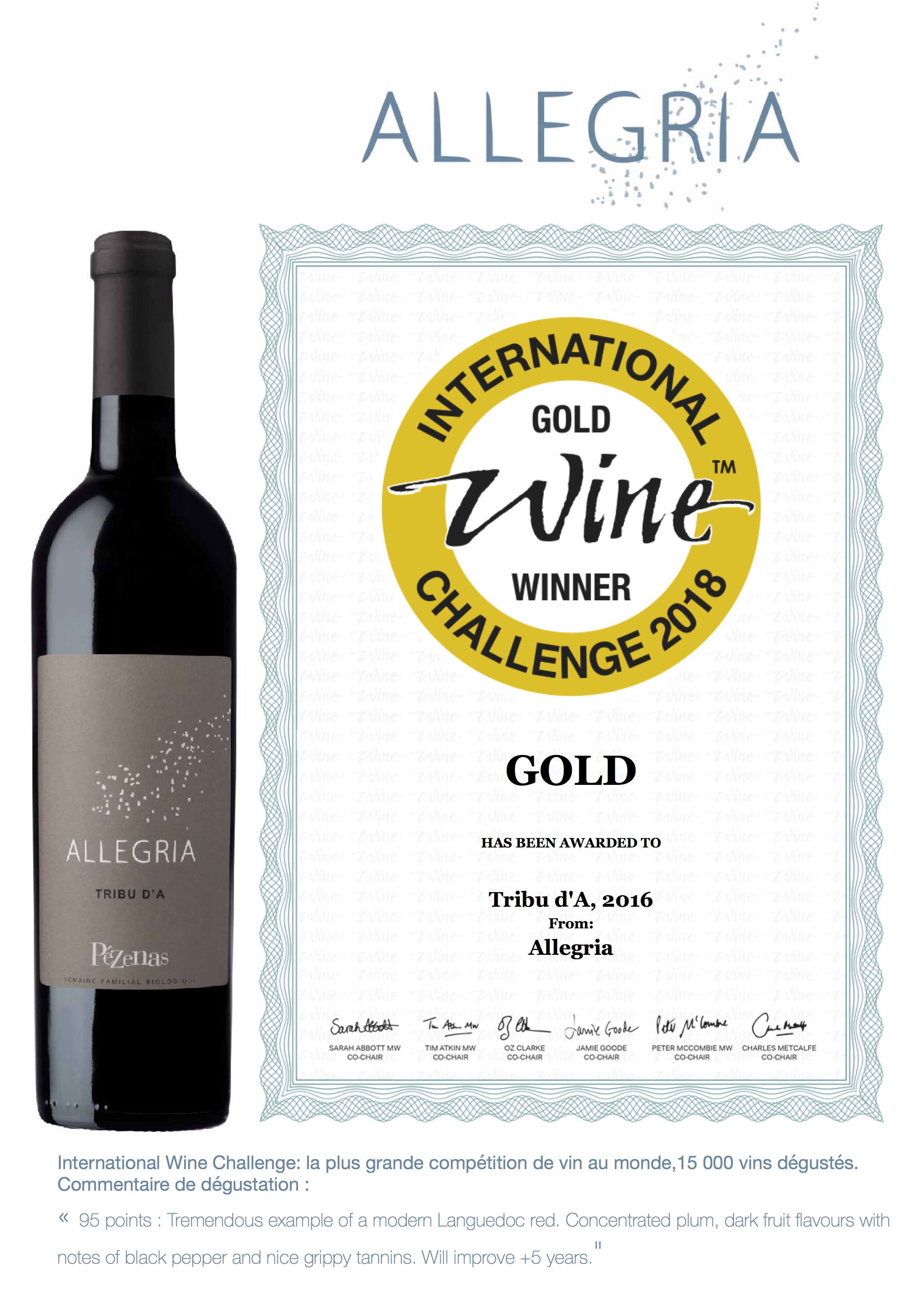 International Wine Challenge: Médaille d'or pour le Tribu d'A